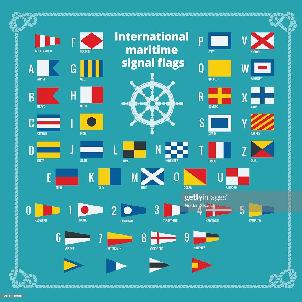 International maritime signal flags. Sea alphabet