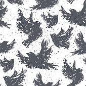 International peace day seamless pattern with flying doves