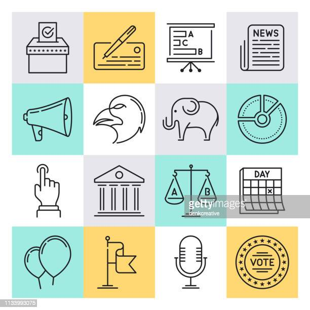 international politics outline style vector icon set - diplomacy stock illustrations