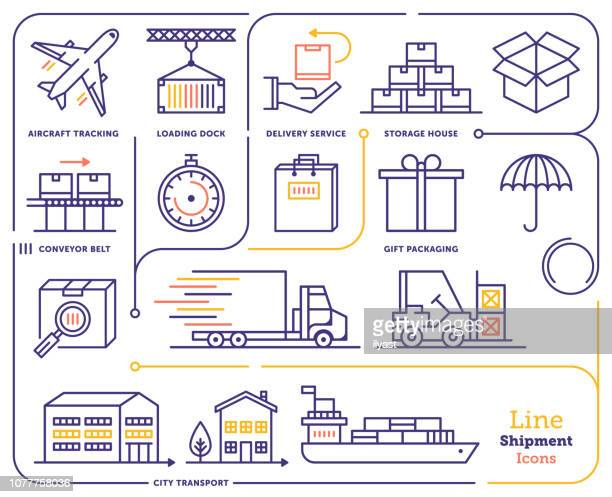 international shipping & tracking line icon set - shipping stock illustrations
