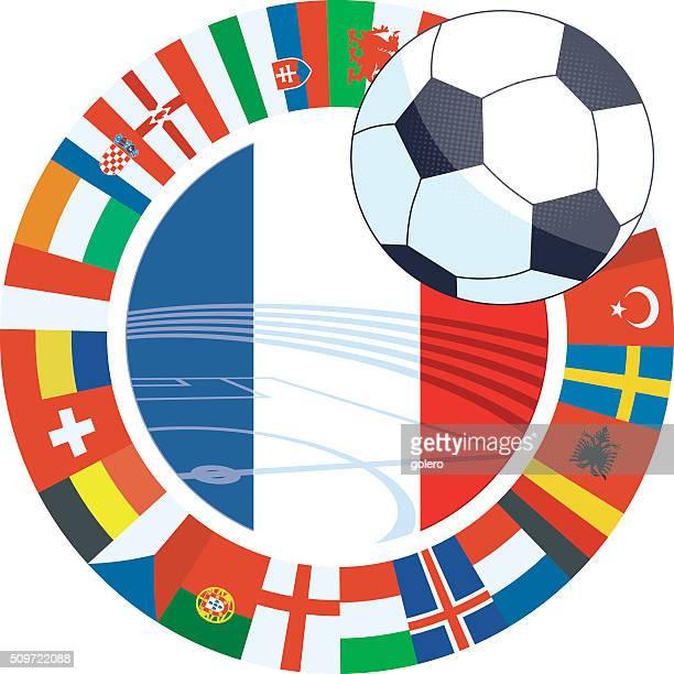 Football international Étiquette avec drapeau français à flagring