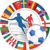 international soccer match vector symbol with flags