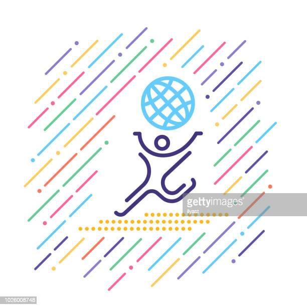 illustrations, cliparts, dessins animés et icônes de icône de ligne sport international - international match