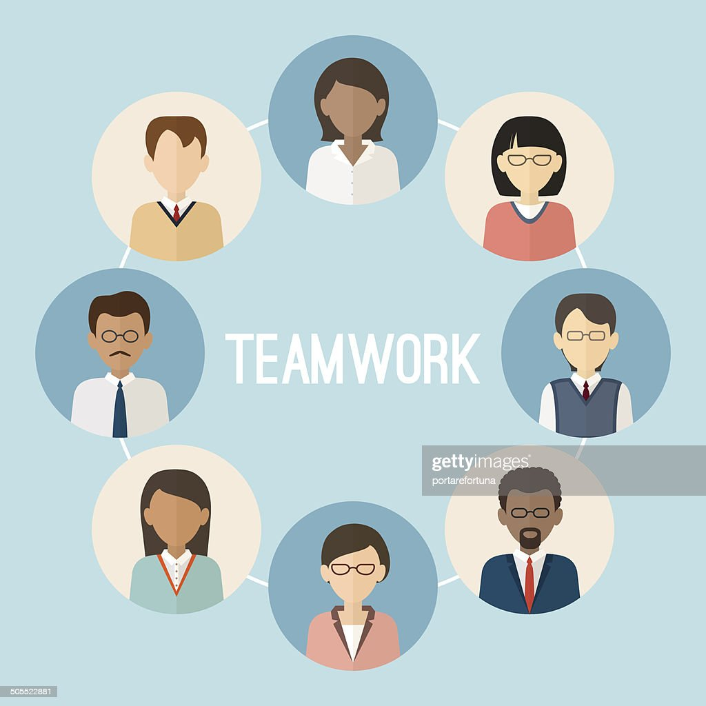 International teamwork. Colorful business people face. Trendy flat style.