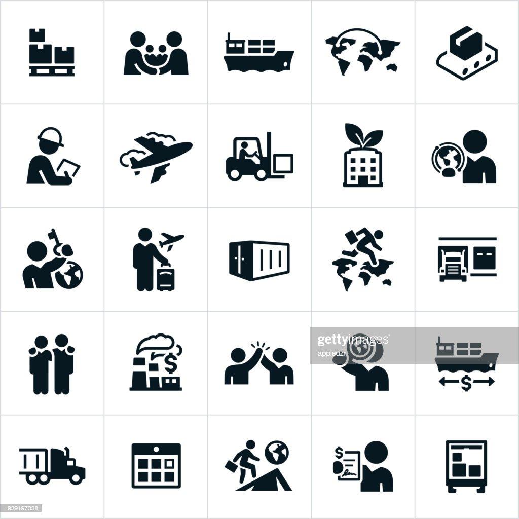 Iconos de comercio internacional : Ilustración de stock
