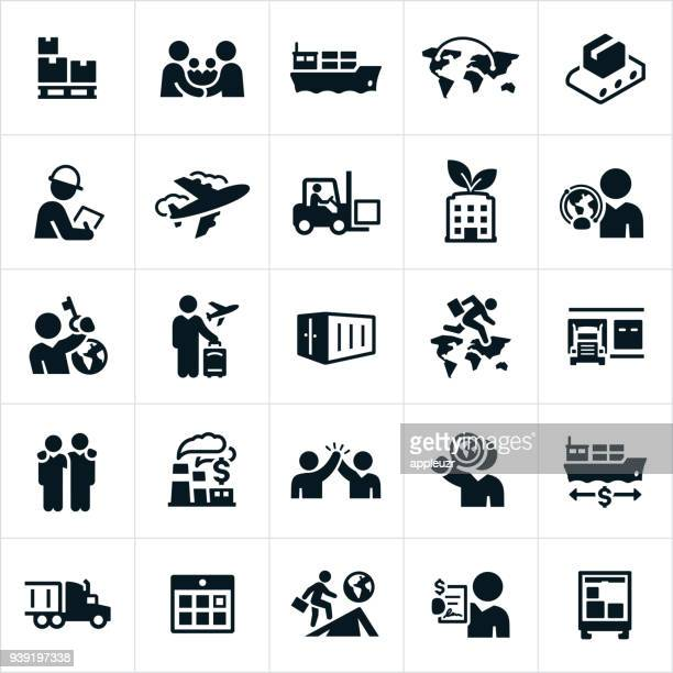 international trade icons - shipping stock illustrations