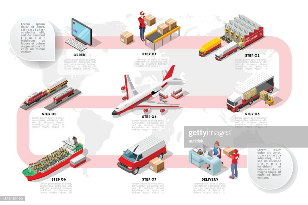 International Trade Logistics Network Isometric Infographic Vector