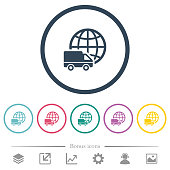 International transport flat color icons in round outlines