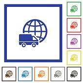 International transport framed flat icons