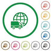 International transport outlined flat icons