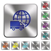 International transport rounded square steel buttons