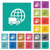 International transport square flat multi colored icons