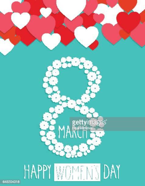 International Women Day, 8 march. Handwritten text