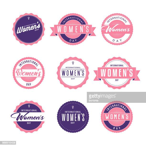 stockillustraties, clipart, cartoons en iconen met international women's day icon set - internationale vrouwendag
