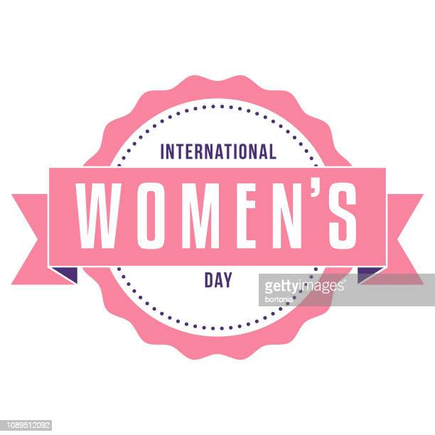 stockillustraties, clipart, cartoons en iconen met international women's day label - internationale vrouwendag