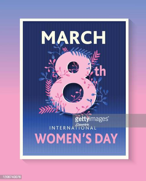 international women's day march 8th design template banner or flyer - number 8 stock illustrations