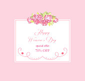 International women's day poster.Floral Greeting card.Season discount banner
