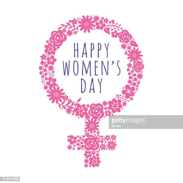 international women's day template with pink symbol. vector illustration. - day stock illustrations