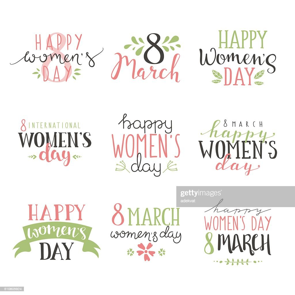 International Womens Day text 8 March for celebration greeting card