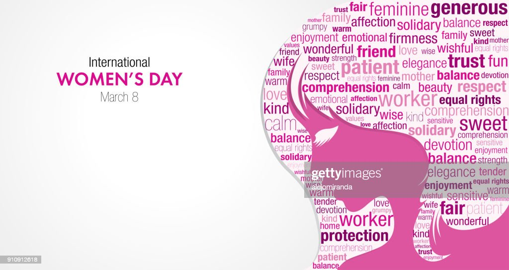 International Women's Day title with a silhouette of a woman's face and a cloud of words inside the silhouette in pink and violet colors