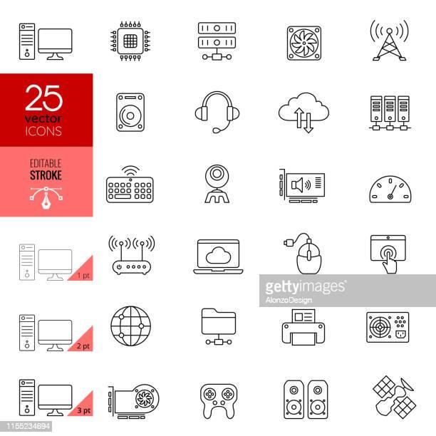 internet and computer hardware icon set. editable stroke. - hard drive stock illustrations