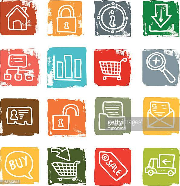 internet and ecommerce icon blocks - information symbol stock illustrations, clip art, cartoons, & icons