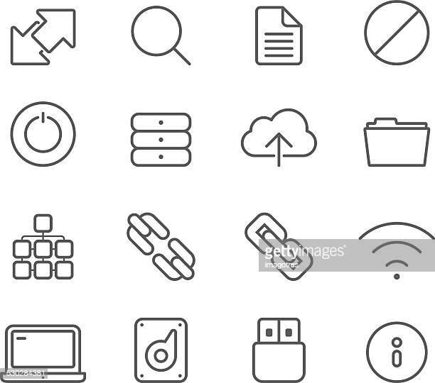 Servidores e comunicação Internet de ícones simples