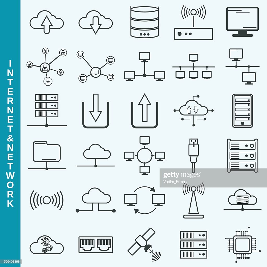 Internet and network, cloud computing, remote control vector icons