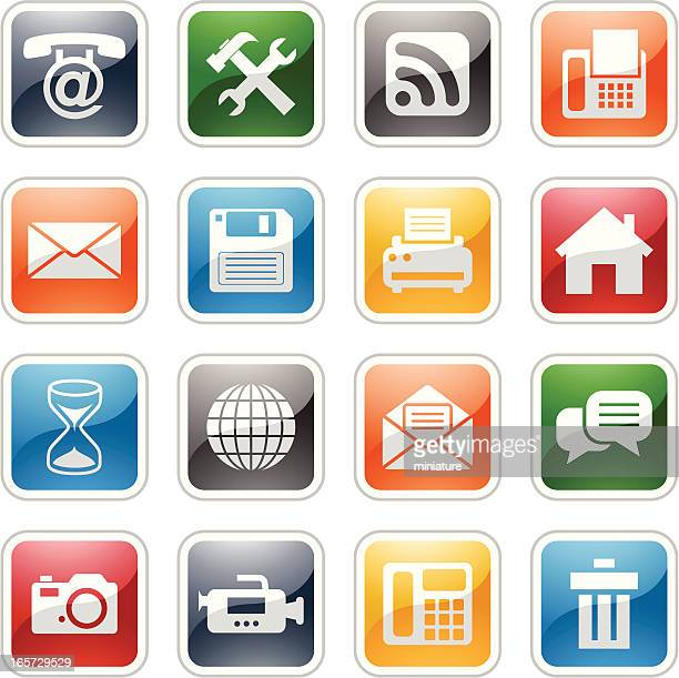 internet and web  buttons - answering machine stock illustrations, clip art, cartoons, & icons