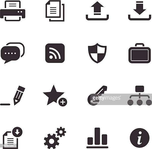internet and web monochromatic icons - printout stock illustrations