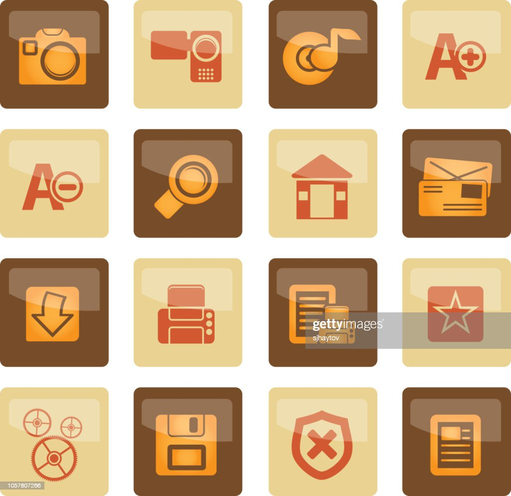 Internet and Website icons over brown background