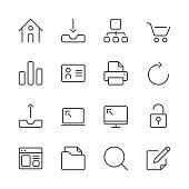 Internet and Website Icons set 1   Black Line series