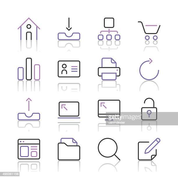 ilustraciones, imágenes clip art, dibujos animados e iconos de stock de internet y el sitio web conjunto de iconos de línea, serie 1/púrpura - tarjeta de archivo