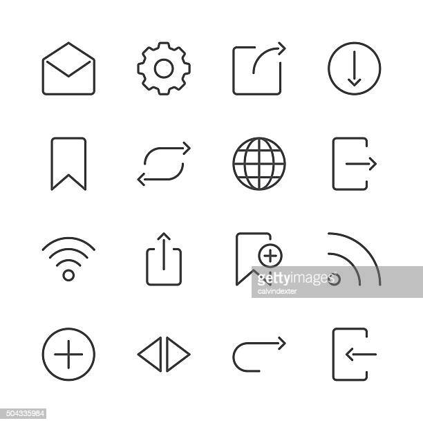 internet and website icons set 2 | black line series - leaving stock illustrations