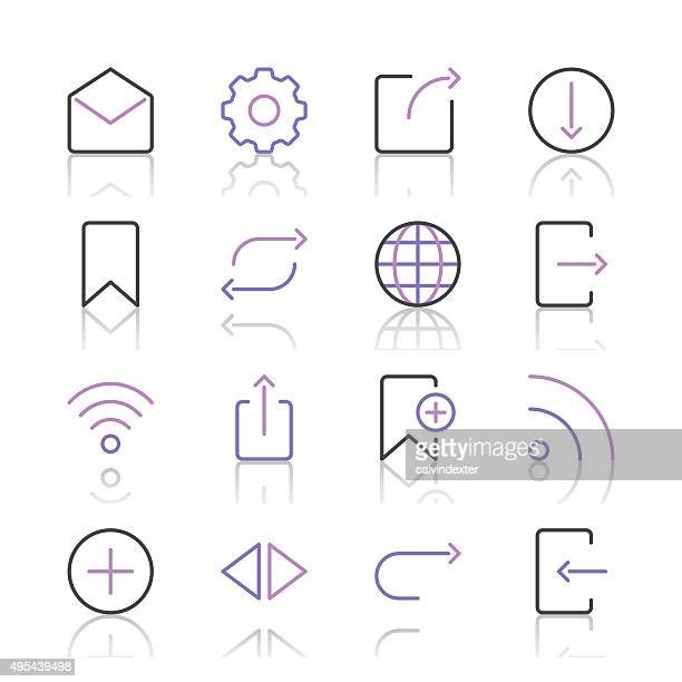 internet and website icons set 2 | purple line series - entering stock illustrations