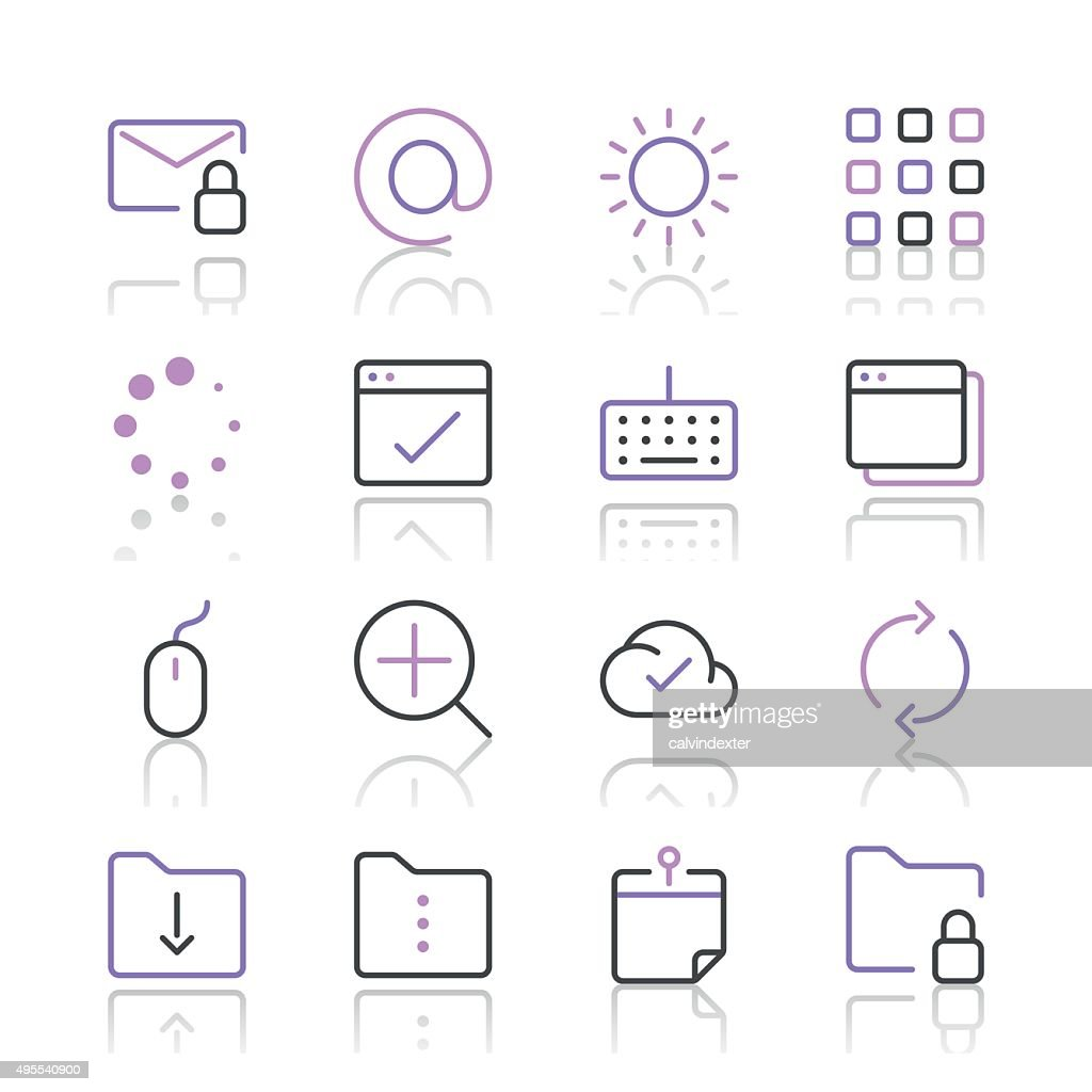 Internet and Website Icons set 4 | Purple Line series