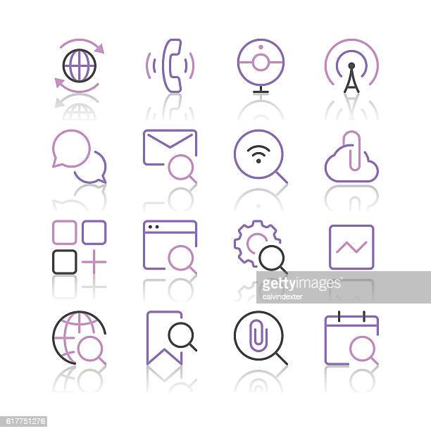 Internet and Website Icons set 5 | Purple Line series