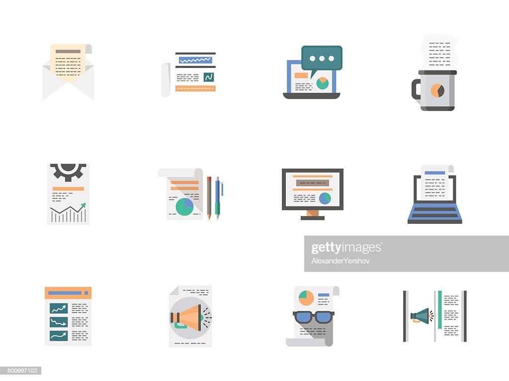 Internet articles flat color vector icons set