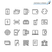 Internet banking line icons. Editable stroke. Pixel perfect.