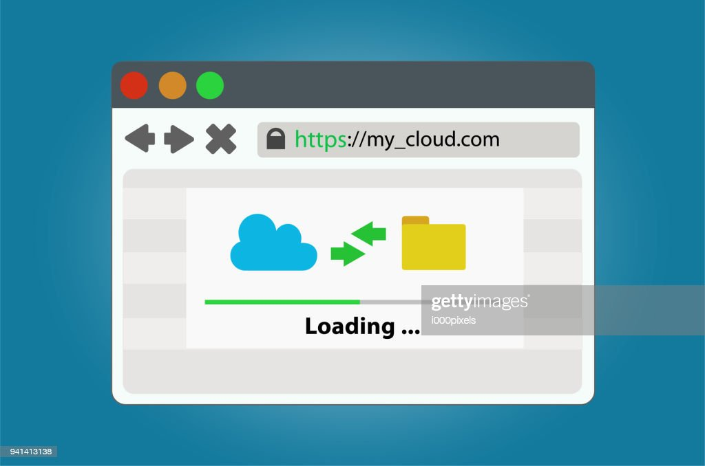Internet browser window with a progress bar of upload and download cloud storage data. In a simple modern style