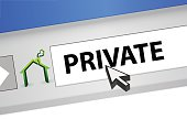 Internet browser with the word private