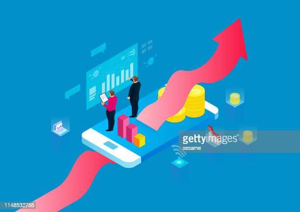 illustrazioni stock, clip art, cartoni animati e icone di tendenza di internet business concept, sviluppo e gestione finanziaria, finanza e pianificazione degli investimenti aziendali - guida turistica professione