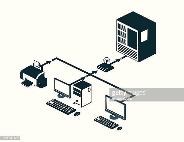 illustrazioni stock, clip art, cartoni animati e icone di tendenza di internet architettura client/server - server di rete