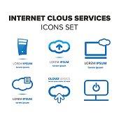 Internet cloud services icon set