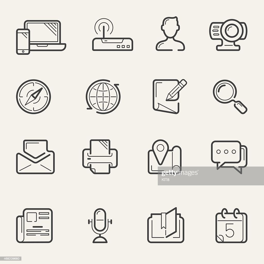 Internet communication and social media line icons