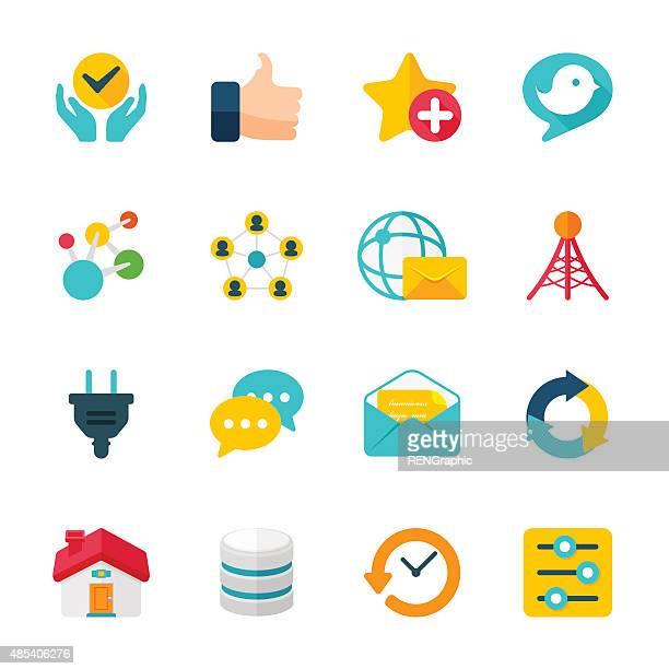 Internet Communication Set | Flat Design Icons