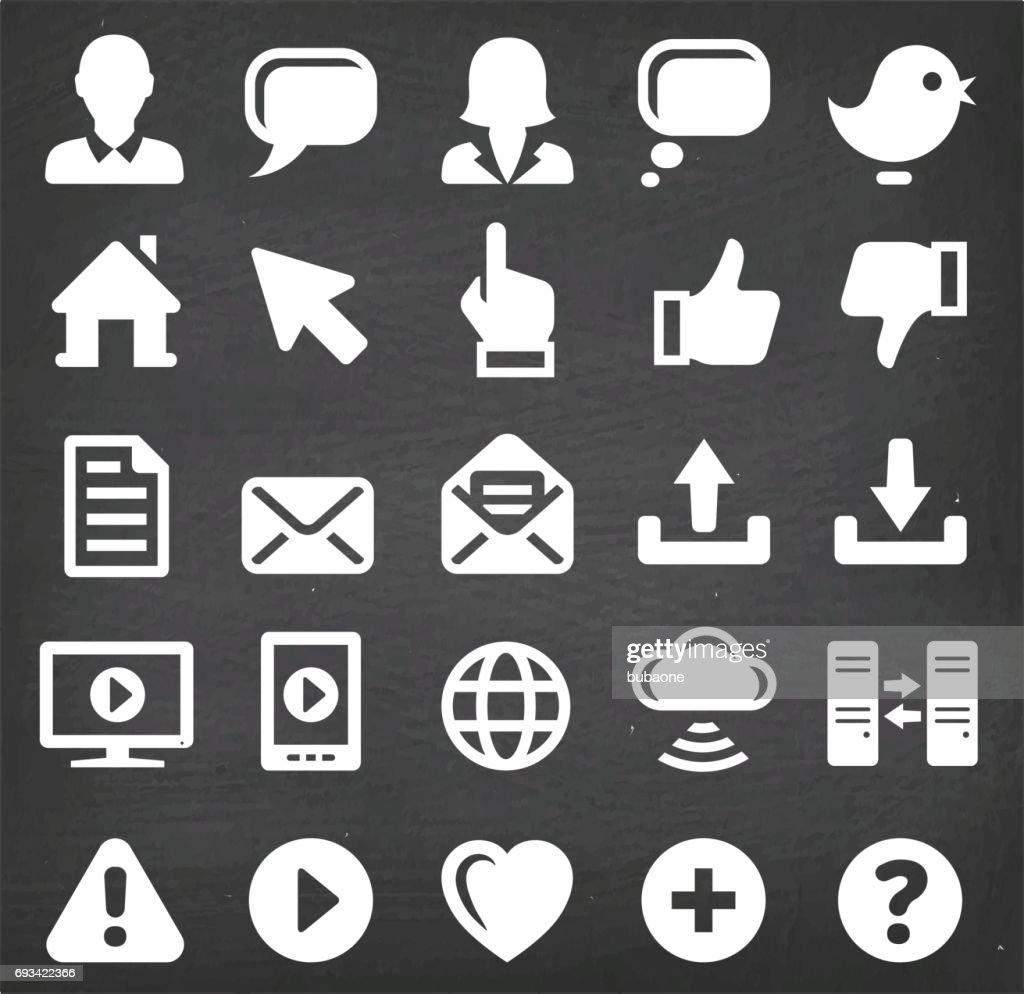 Internet Communication Vector Icons Set on Black Chalkboard