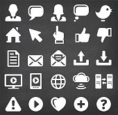 Internet Communication Vector Icons Set on Black Chalkboard