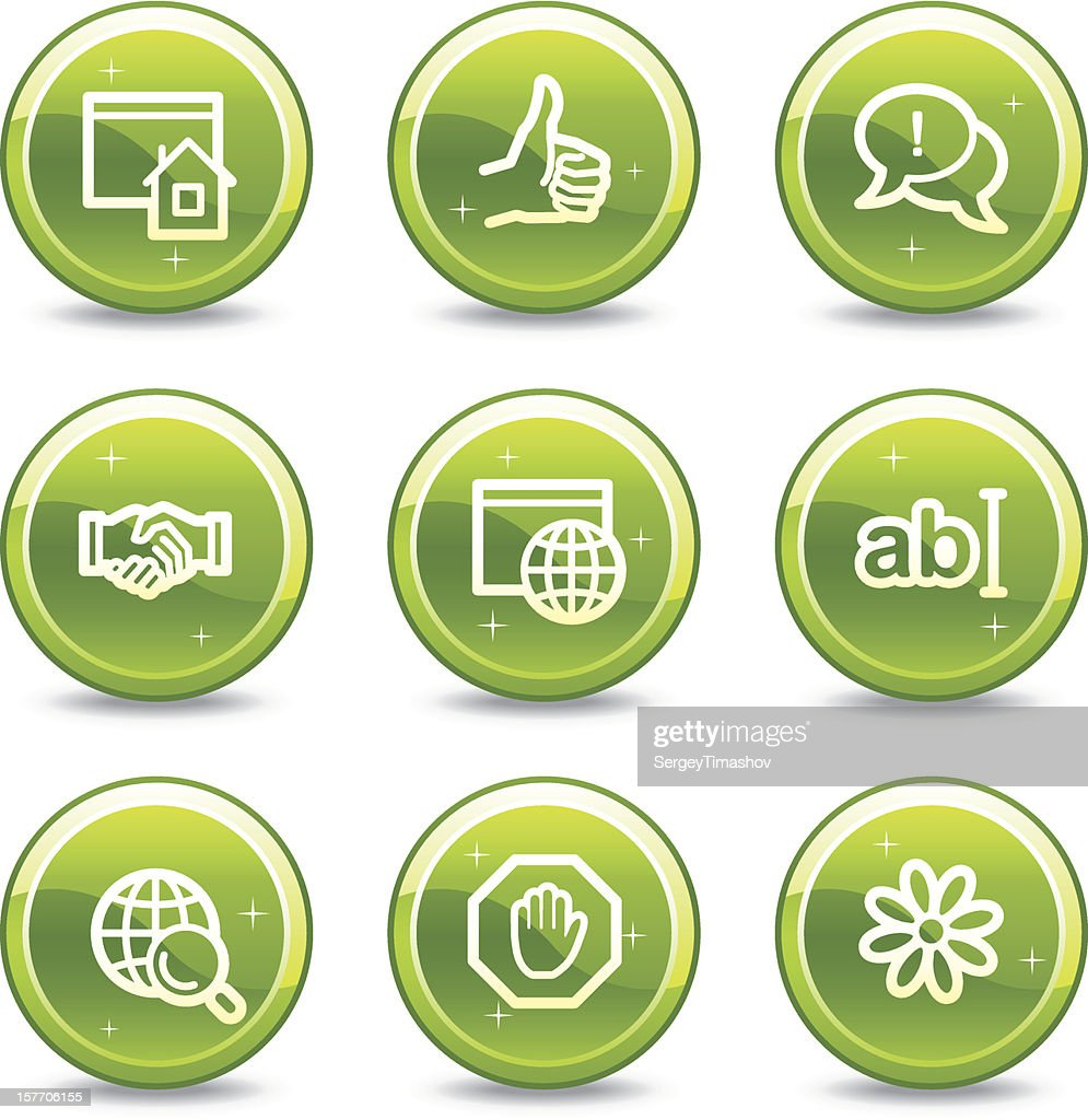 Internet communication web icons, green glossy circle buttons series