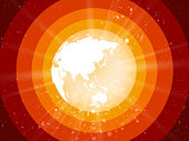 internet concept of global business, planet earth with starburst on red background asia view